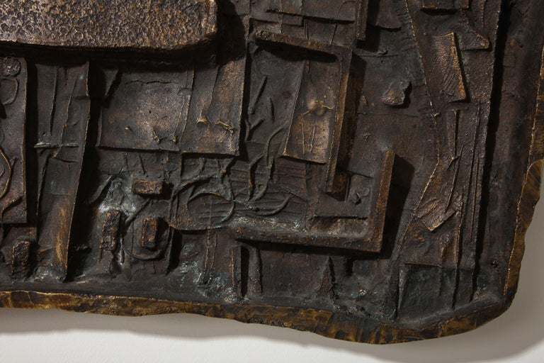 Abbott Pattison Abstract Bronze Wall Sculpture In Good Condition For Sale In New York, NY