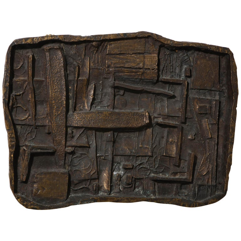 Abbott Pattison Abstract Bronze Wall Sculpture For Sale