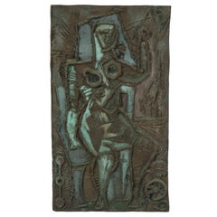 Abbott Pattison Abstract Figural Bronze Plaque