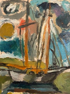 American Modernist Oil Painting Abstract Boat, Chicago Artist