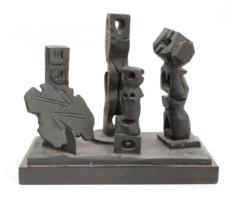 Abbott Pattison Figurative Painting - Brutalist Modernist Abstract Bronze Sculpture Totems Manner of Louise Nevelson