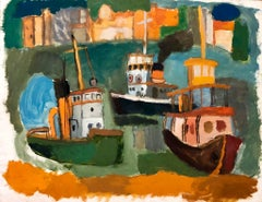 Tugboats in the Harbor, American Modernist Oil Painting Chicago Artist