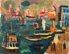 Venice, Italy Panorama American Modernist Oil Painting Chicago Artist. 2 Sided