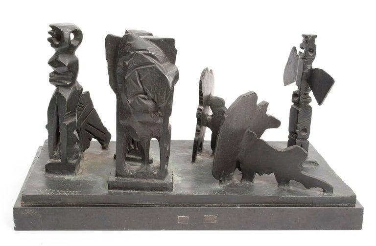 Brutalist Modern Abstract Bronze Sculpture Metropolis Manner of Louise Nevelson - Gold Figurative Sculpture by Abbott Pattison