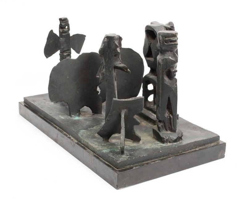 Brutalist Modern Abstract Bronze Sculpture Metropolis Manner of Louise Nevelson For Sale 1