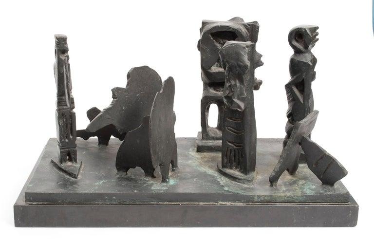 Abbott Pattison Figurative Sculpture - Brutalist Modern Abstract Bronze Sculpture Metropolis Manner of Louise Nevelson