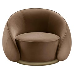 Abbracci Armchair in Brown Leather with Brown Burnished Brass Legs