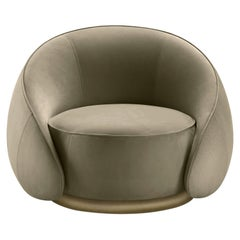 Abbracci Armchair in Green Leather with Brown Burnished Brass Legs