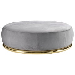 Abbracci Large Ottoman in Grey Leather with Polished Brass Legs
