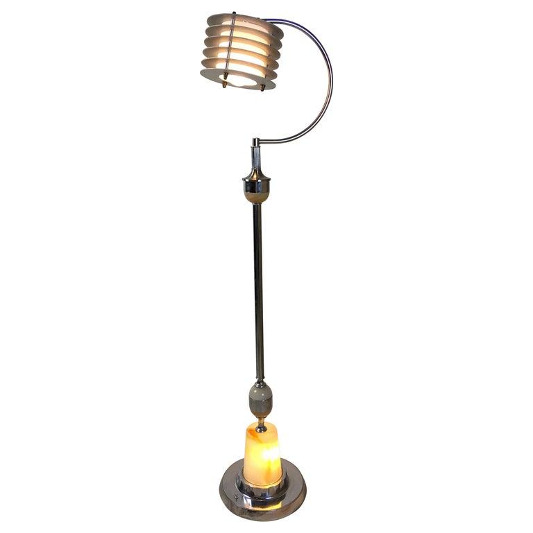 Abco Art Deco Chrome Floor Lamp With