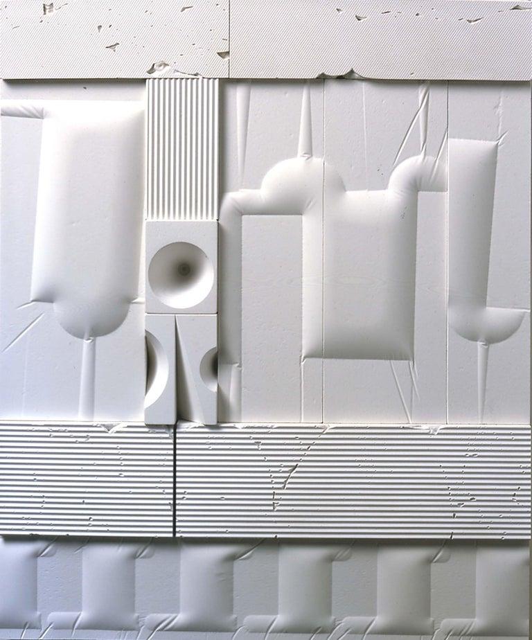 Abe Ajay Abstract Sculpture - Mid-Century Modern Art, Design, 1978, White Relief #1078