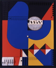 Mid-Century Modern Art, Design, Blue, Yellow & Red by Abe Ajay 1965