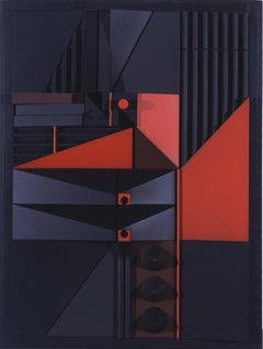 Mid-Century Modern Art, Design, Polychrome Wood Construction by Abe Ajay 1966