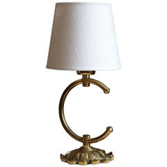 Abea, Small Table Lamp, Brass, White Linen, Sweden, 1960s