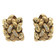 Abel and Zimmerman Yellow Gold and Diamond Clip-On Earrings