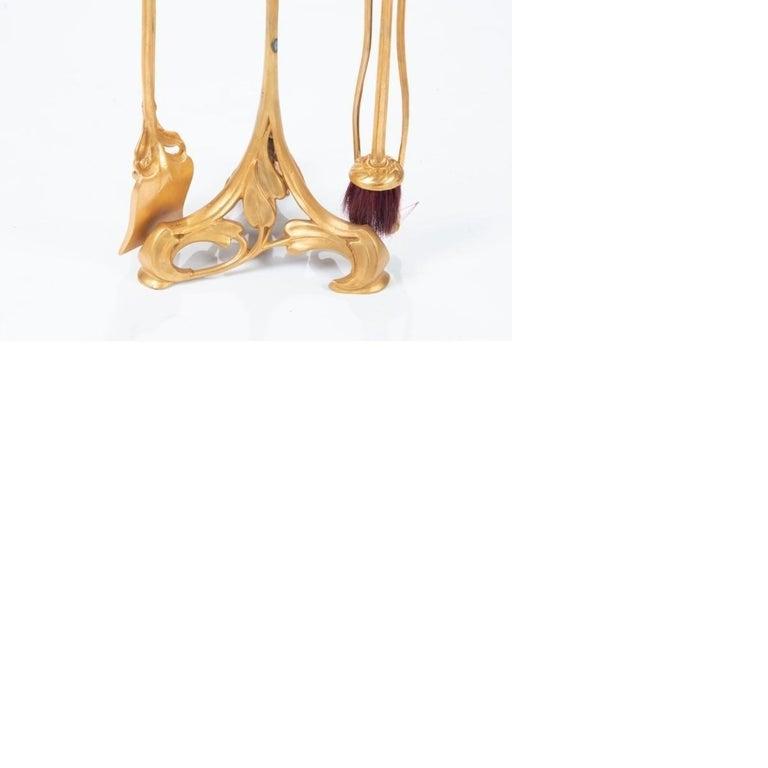 Abel Landry French Art Nouveau Gilt Bronze Fireplace Set 2
