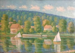 Landscape of a French Lake, Signed Oil Painting