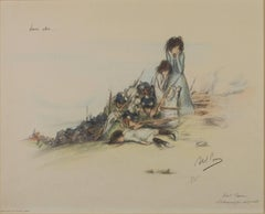 """Leir Abri (Their Shelter),"" Original Color Lithograph by Abel Pann"