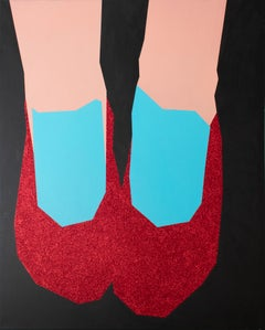 No Place Like Home (Abstract Still Life Painting of Dorothy's Ruby Red Slippers)