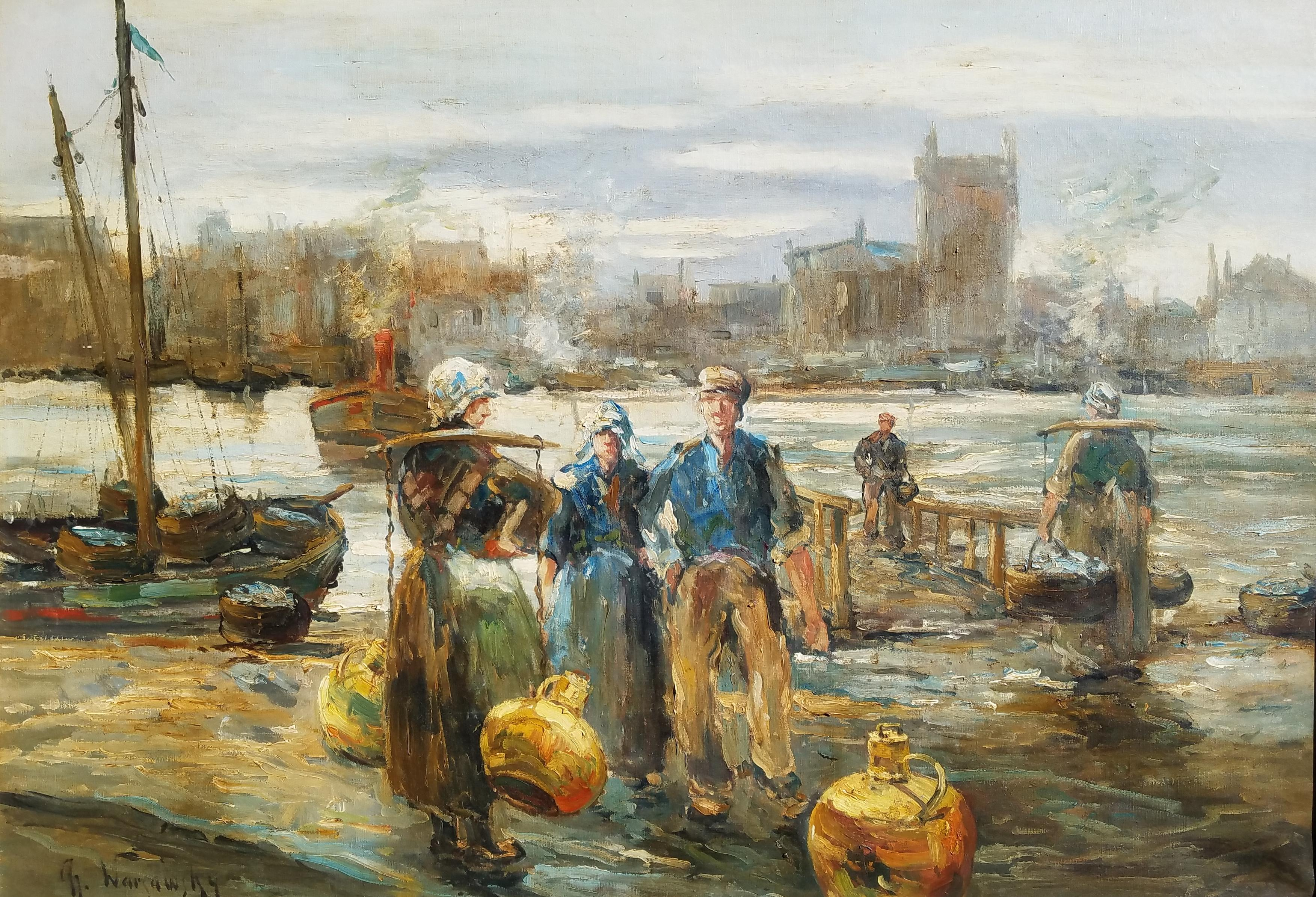 """""""Figures by the Harbor, Brittany, France,"""" Abel Warshawsky, Impressionist Scene"""