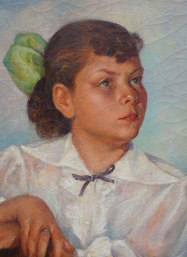 Portrait of Lisa Mi Hamlin - Brown Portrait Painting by Abel Warshawsky