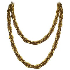 Abel & Zimmerman 18 Karat Gold Braided Oval Links Chain Necklace for Cellini