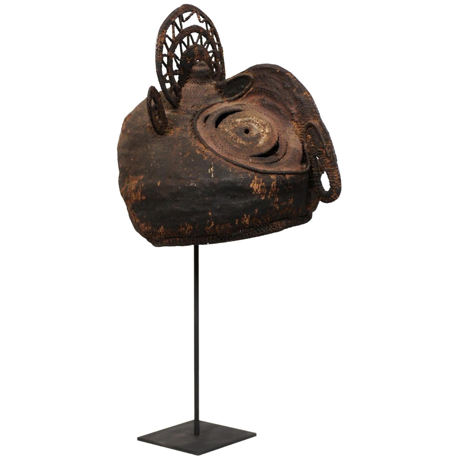"""Abelam """"Yam Festival"""" Mask on Stand from Papua New Guinea"""