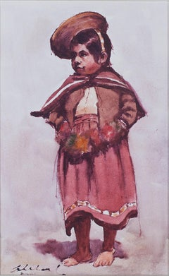 """Vestido Regional (Girl in Her Regional Costume)"" Oil by Abelardo Marquez"