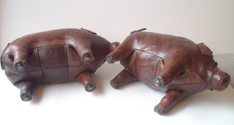 Modern Abercrombie and Fitch Pair of Leather Pigs by Dimitri Omersa, Footstools, Stool For Sale