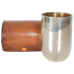 Abercrombie Fitch 4 Travel Cups Shot Glasses Jigger Set in Leather Case 1960s