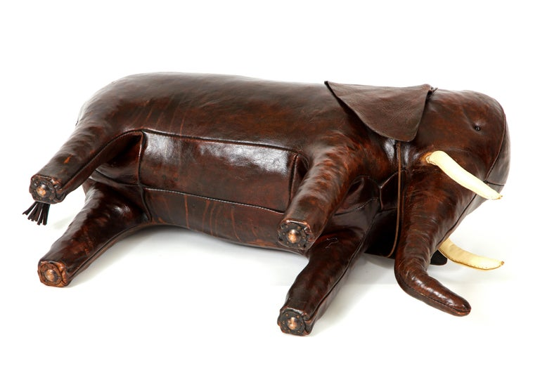Leather Abercrombie & Fitch Elephant Footstool by Dimitri Omersa For Sale