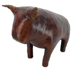 Abercrombie & Fitch Leather Bull Statue Footstool, Mid-Century Modern