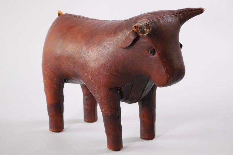 Original Dimitri Omersa pigskin bull footstool. Sold stateside by Abercrombie and Fitch in the mid-1960s.