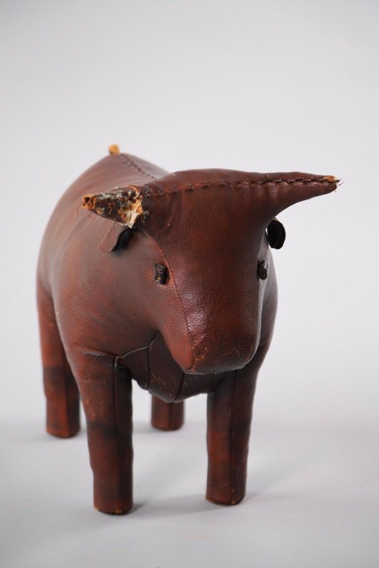 Mid-Century Modern Abercrombie & Fitch Pigskin Bull Footstool Ottoman