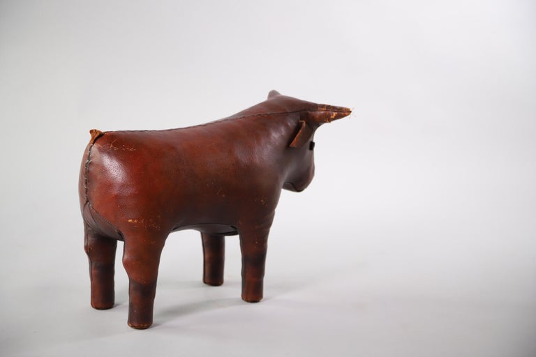 Mid-20th Century Abercrombie & Fitch Pigskin Bull Footstool Ottoman