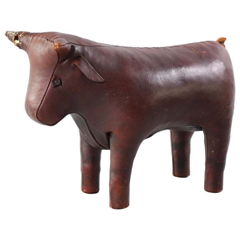 Abercrombie & Fitch Pigskin Bull Footstool Ottoman For Sale