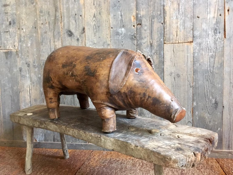 Mid-Century Modern Abercrombie & Fitch Vintage Leather Pig Footstool by Dimitri Omersa