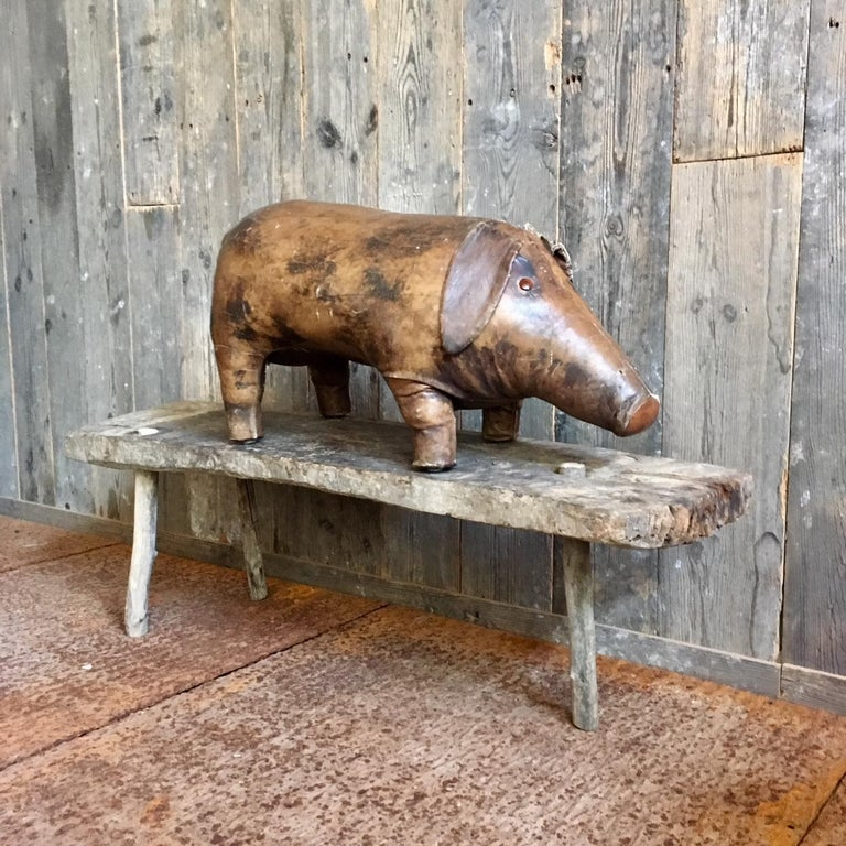British Abercrombie & Fitch Vintage Leather Pig Footstool by Dimitri Omersa
