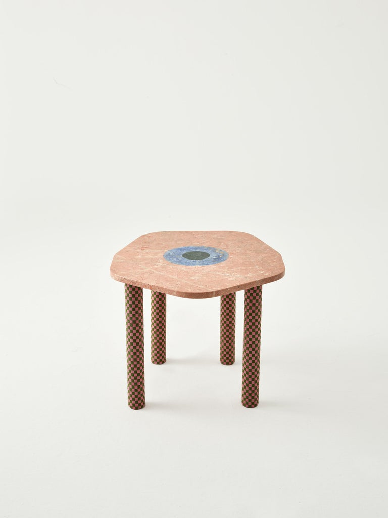 Handcrafted Abide marble side tables are the modern interpretation of the iconic evil eye symbol. The Evil Eye protection consists of an eponymous shield that protects you from the so called evil eyes and indicates spiritual protection. The colorful