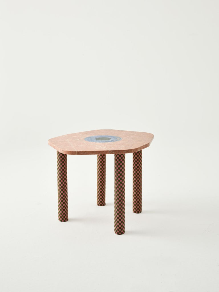 International Style Abide Marble Side Table in Pink For Sale