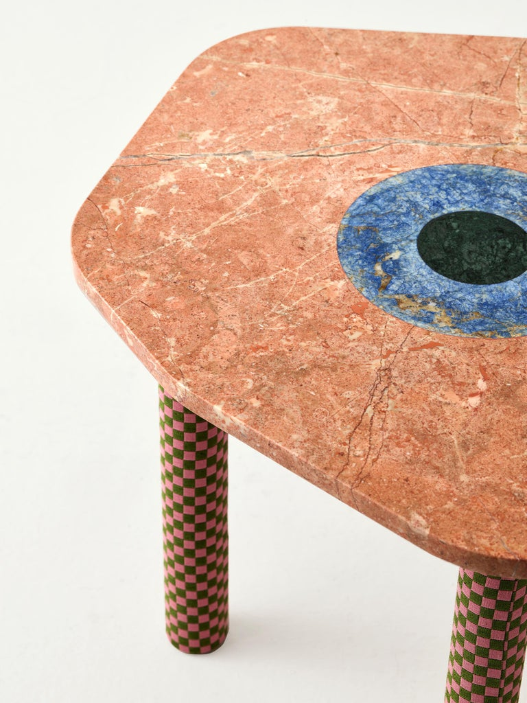 Contemporary Abide Marble Side Table in Pink For Sale