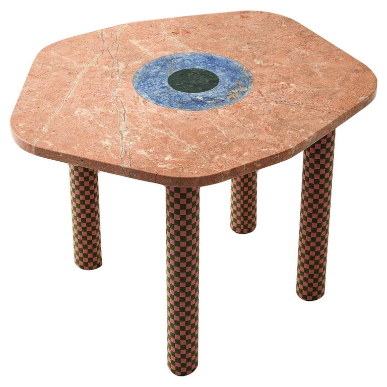 Abide Marble Side Table in Pink For Sale