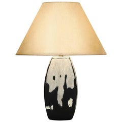 Abigail Table Lamp in Silver and Charcoal Ceramic by CuratedKravet