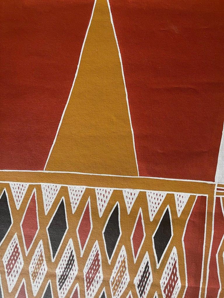 Canvas Aboriginal Body Painting Terrence Gurruwiwi Elcho Island, Australia For Sale