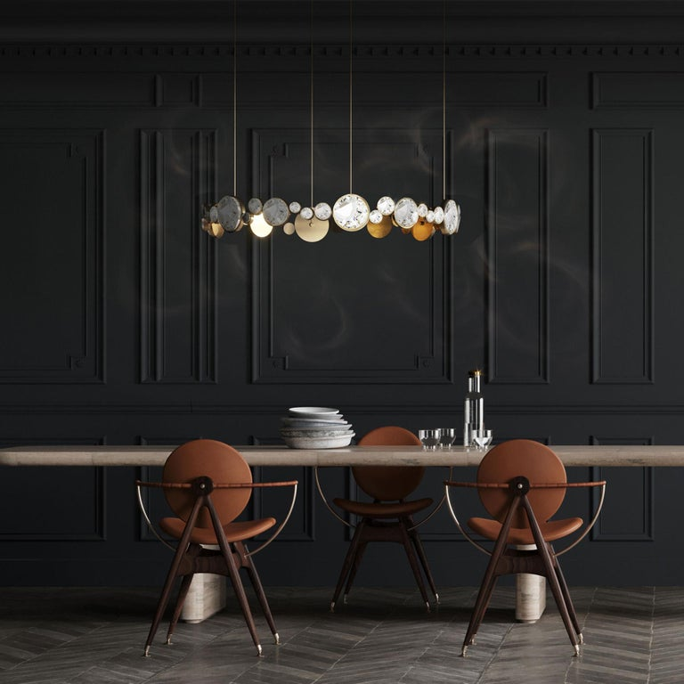 'ABRACADABRA' Crystal Glass and Brass Handmade Ceiling Lamp Pendant, Chandelier For Sale 3