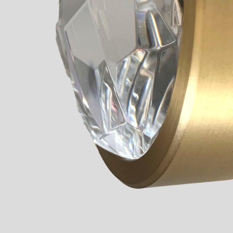 'ABRACADABRA' Crystal Glass and Brass Handmade Ceiling Lamp Pendant, Chandelier For Sale 1