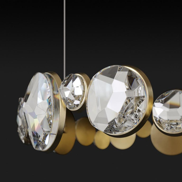 Contemporary 'ABRACADABRA' Crystal Glass and Brass Handmade Ceiling Lamp Pendant, Chandelier For Sale