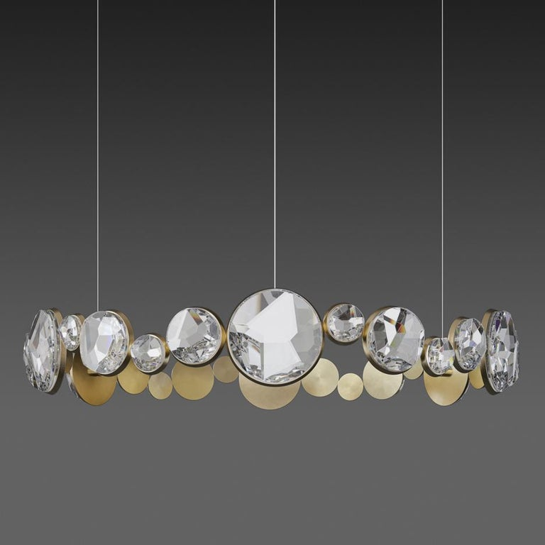 'ABRACADABRA' Crystal Glass and Brass Handmade Ceiling Lamp Pendant, Chandelier In New Condition For Sale In London, GB
