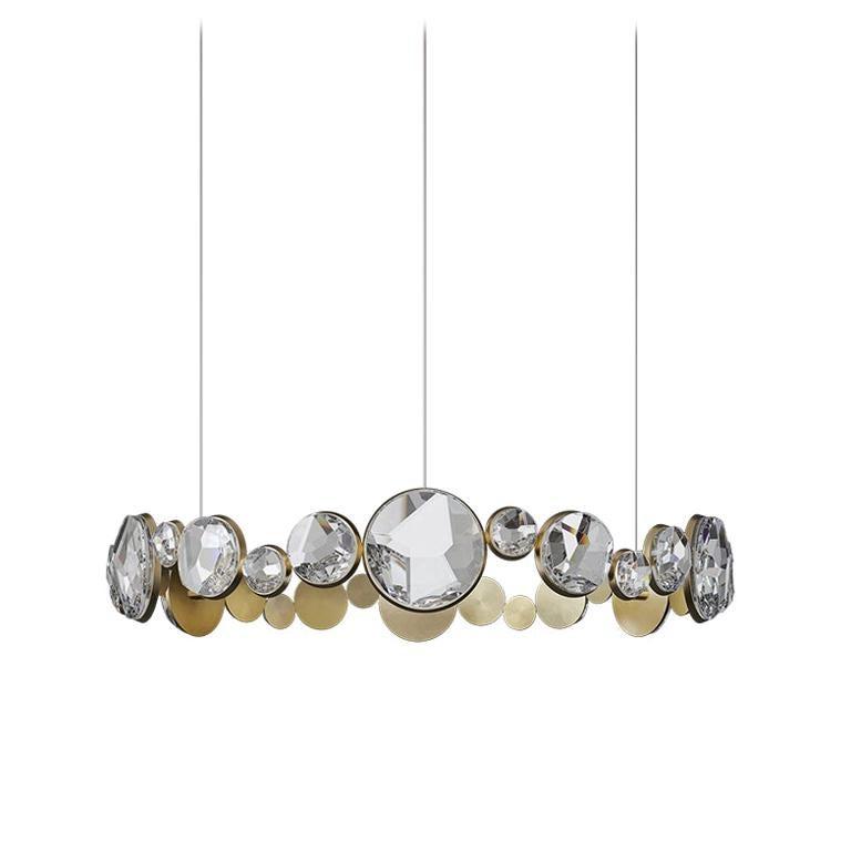 'ABRACADABRA' Crystal Glass and Brass Handmade Ceiling Lamp Pendant, Chandelier For Sale