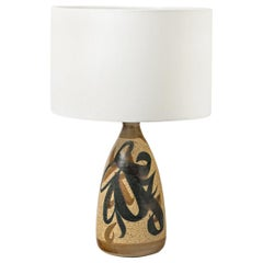 Abract Brown and Black Decor Ceramic Table Lamp by Wales England circa 1960